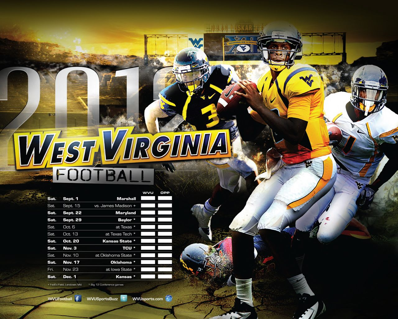 2012 Football Poster Download It As Wallpaper For Your Computer At Http Www Wvusports Com Wallpaper Cfm O Wvu Football Football Poster Football Wallpaper
