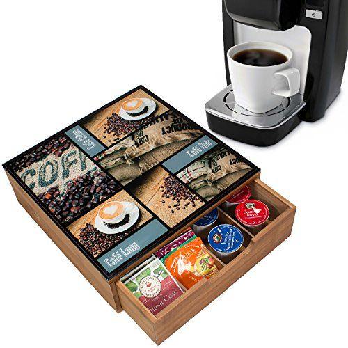 Amazon.com: Decorative Bamboo Tea & Coffee Pod Drawer Or Countertop Storage Box w/Glass Top: Kitchen & Dining