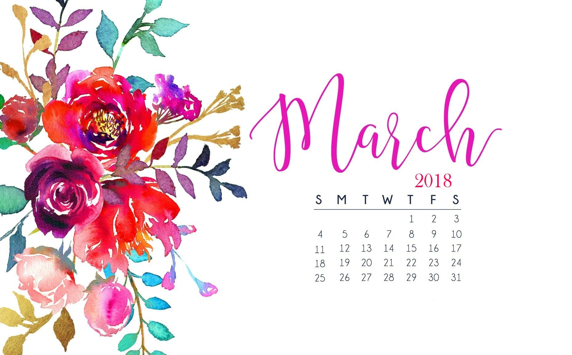 Floral March 2018 Wallpaper Calendar Jpg 1 856 1 151 Pixels