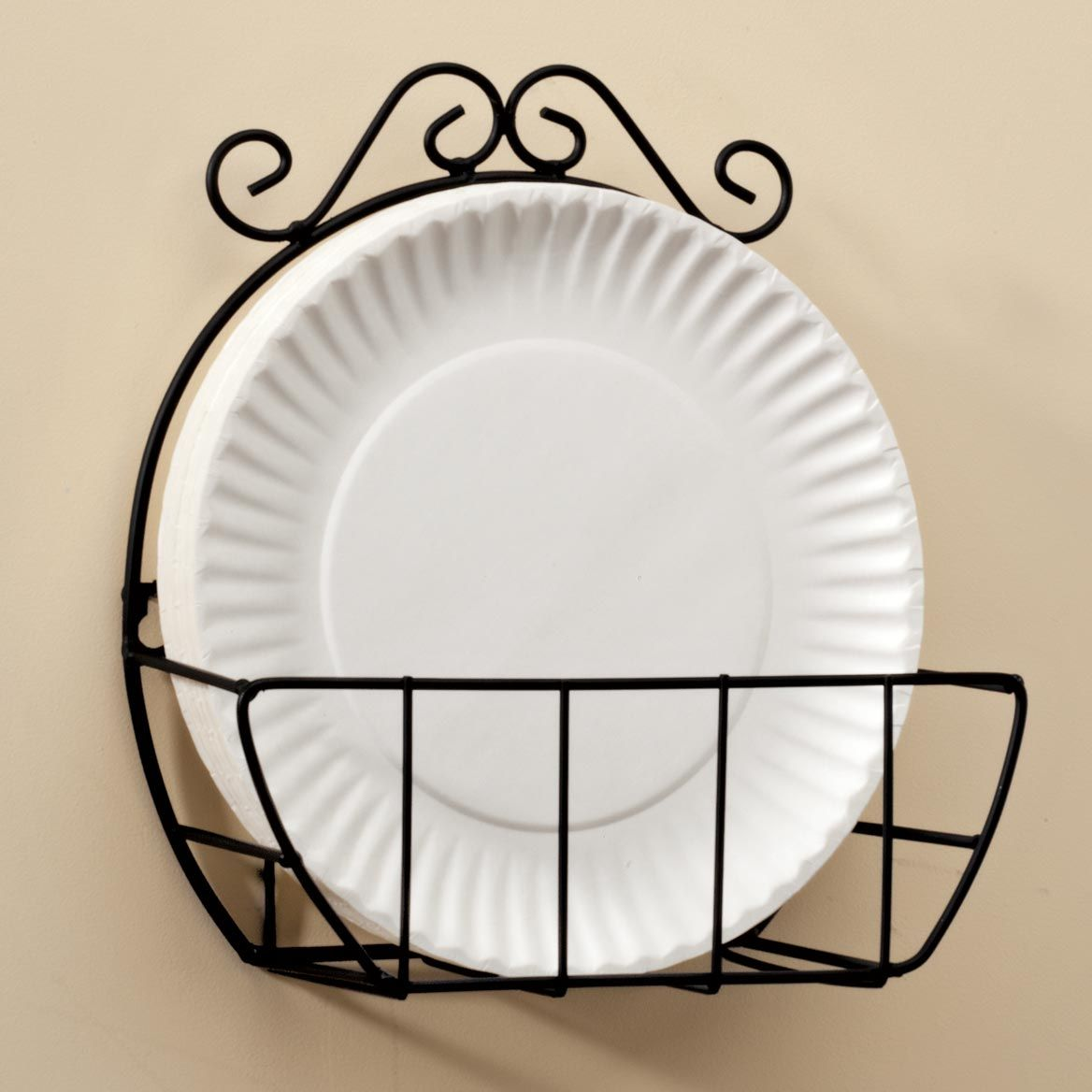 Miles Kimball Wire Paper Plate Holder Lends Style And Convenience To You Kitchen Keeps Paper Plates Organized Paper Plate Holders Plate Storage Plates On Wall