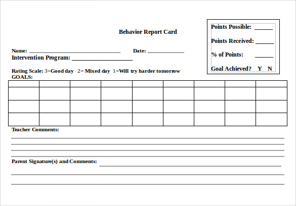 Report Card Format Template 7 Professional Templates