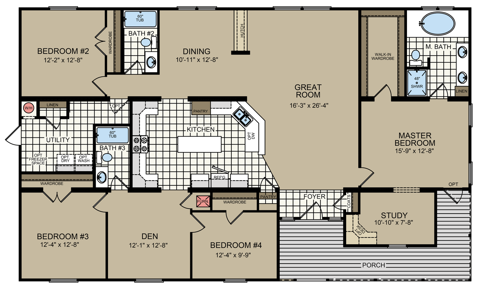 The Canyon Vista Built By An Factory Direct In San Antonio Tx View Floor Plan Of This 4 Bedroom 3 Bathroom Triple Wide Home