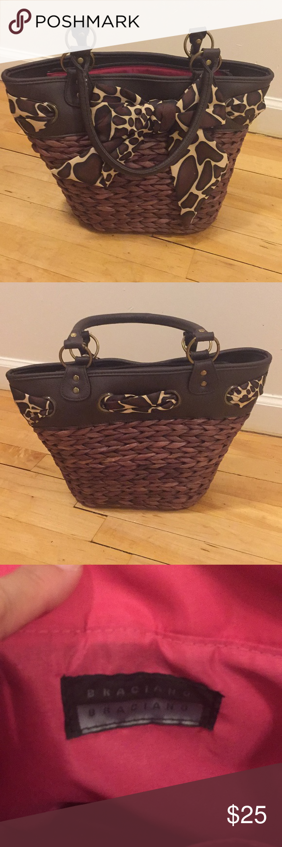 Braciano Purse Brown And Cream Has A Small Tear On The Bottom Please See Pictures For Details Bags