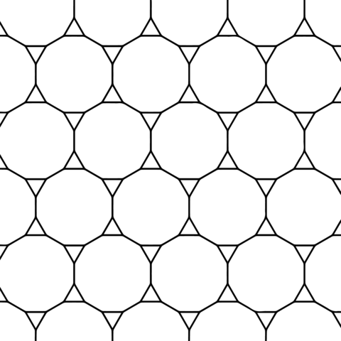 Tessellation with Tridecagon and Triangle coloring page