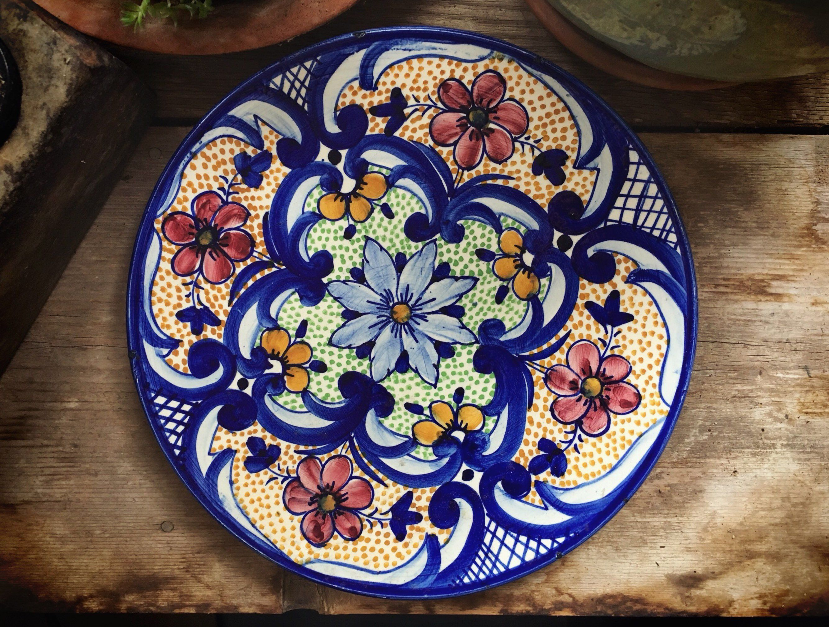 Talavera Plate Wall Hanging Mexican Pottery Rustic Decor