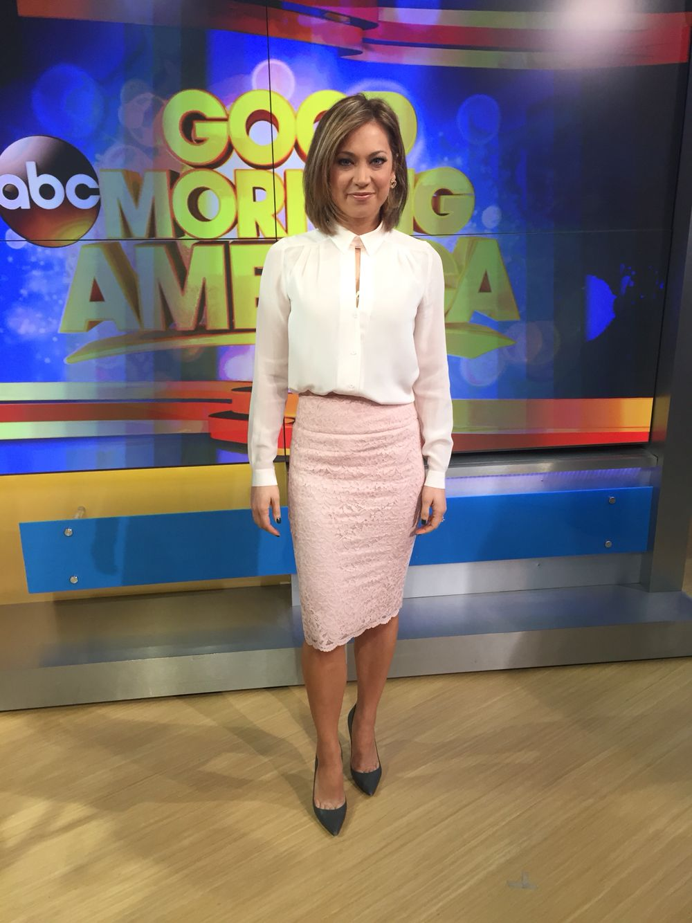 Ginger Zee Hot Pics for i bought the top at @ruelala it is @frenchconnection and the skirt
