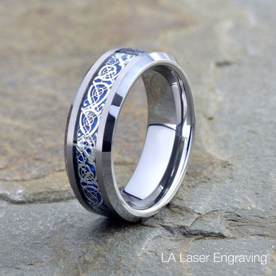 Personalized Engraved Tungsten Blue Dragon Inlay Ring Stainless Steel Wedding Band