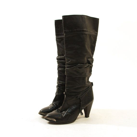 974eb372487af 80s Zodiac Knee High Leather Boots / Pull On / by SpunkVintage ...