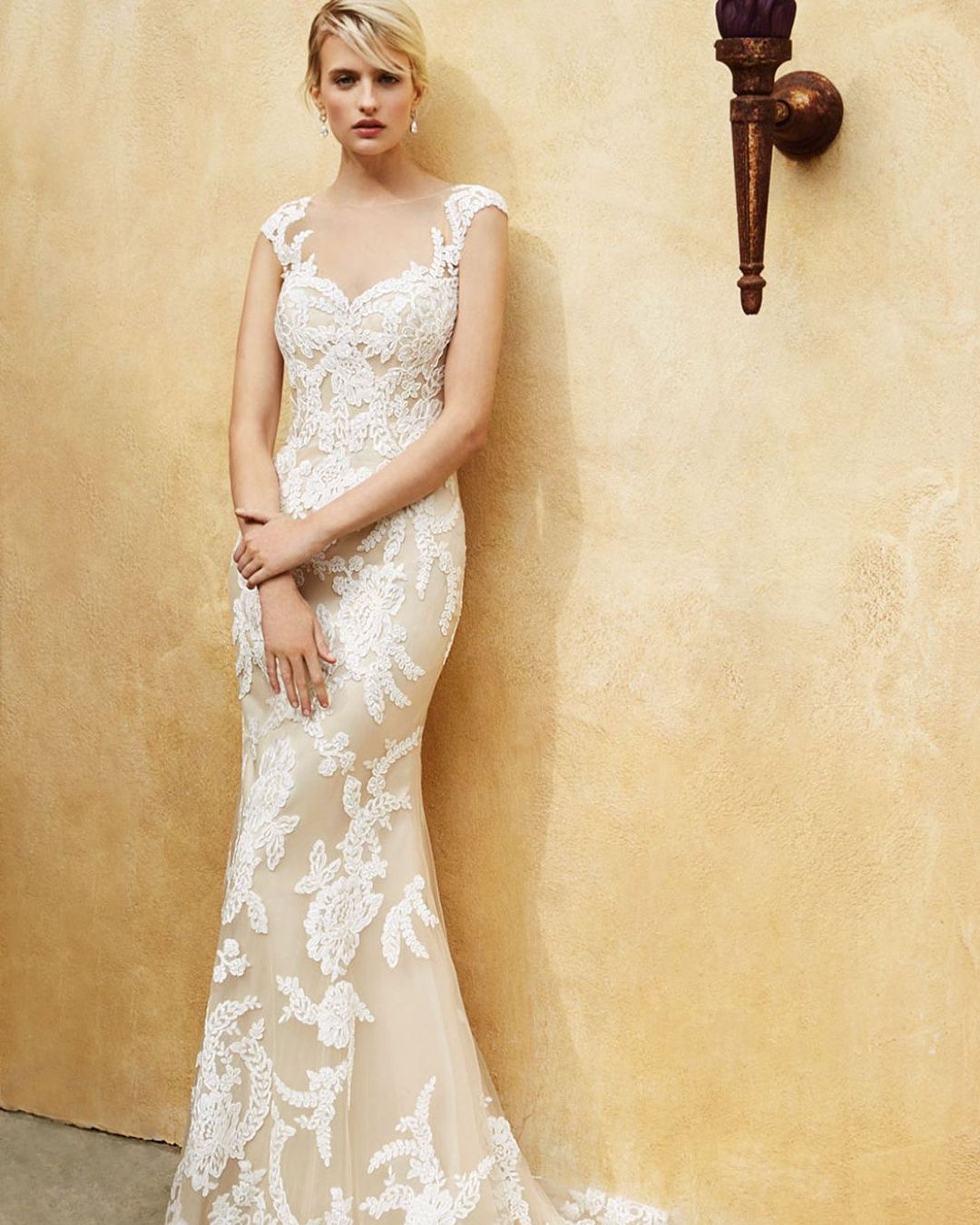 Michelangela Bridal Boutique: This Lace Sheath With Illusion Back And Pearl Button