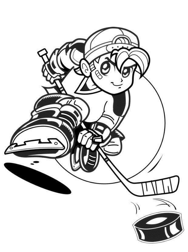 hockey cartoon coloring book | sport coloring page | Pinterest