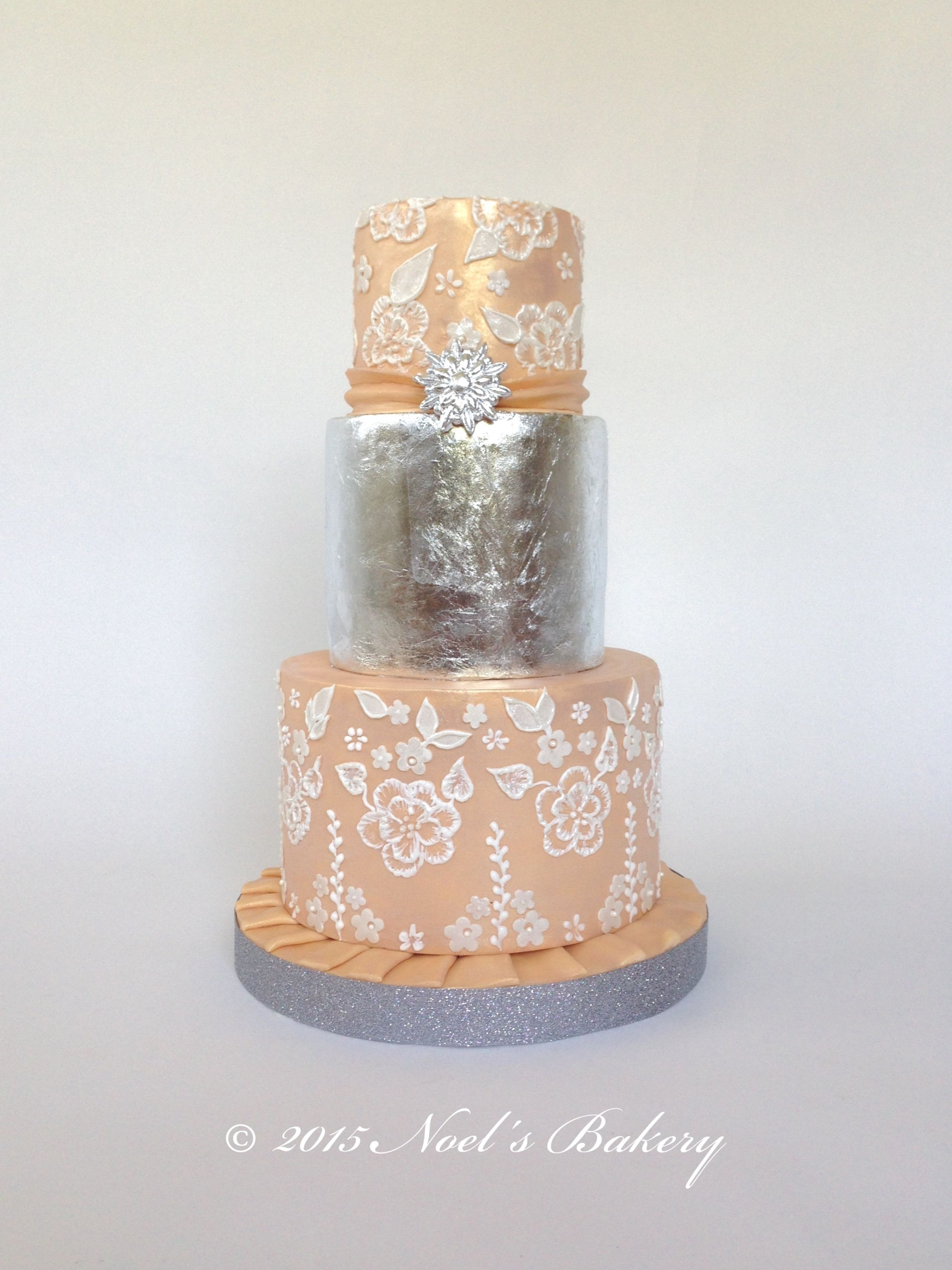 Edible Silver Leaf Silver and Peach Wedding Cake Brushed Embroidery ...