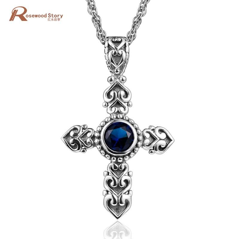 79db5e8b12d Ange Cross Pendant Necklace Vintage Style Lab Sapphire Real 925 Sterling  Silver Women Men Biker Jewelry Gifts Wholesale Free Box.