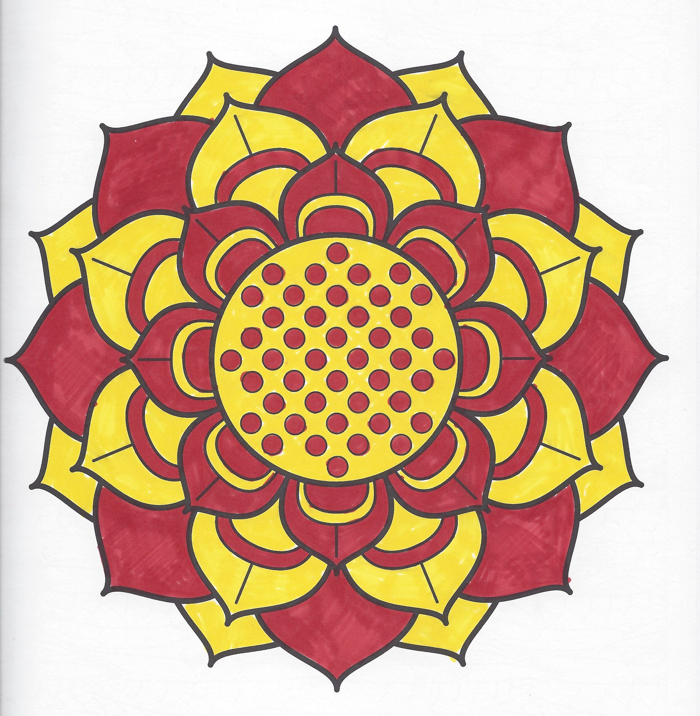 Red and Yellow Flower Mandala Page can be found in Meditation ...