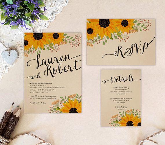 Printed Sunflower Wedding Set Invite Rsvp Details Card Etsy In 2021 Kraft Wedding Invitations Wedding Invitation Kits Cheap Wedding Invitations