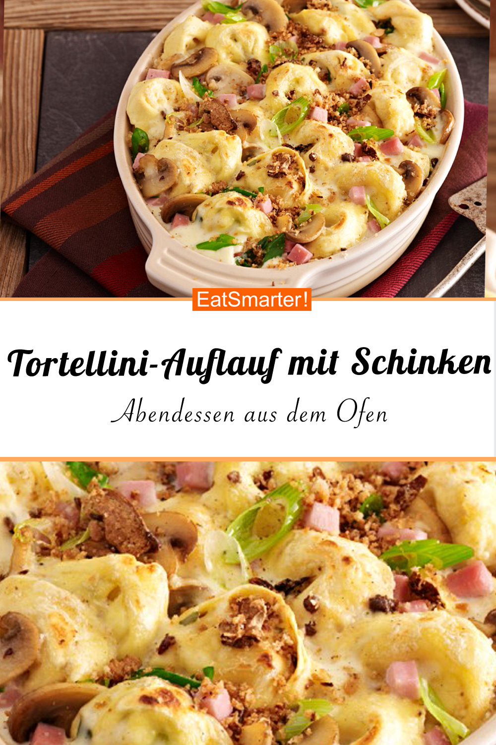 Photo of Tortellini bake with ham and spring onion