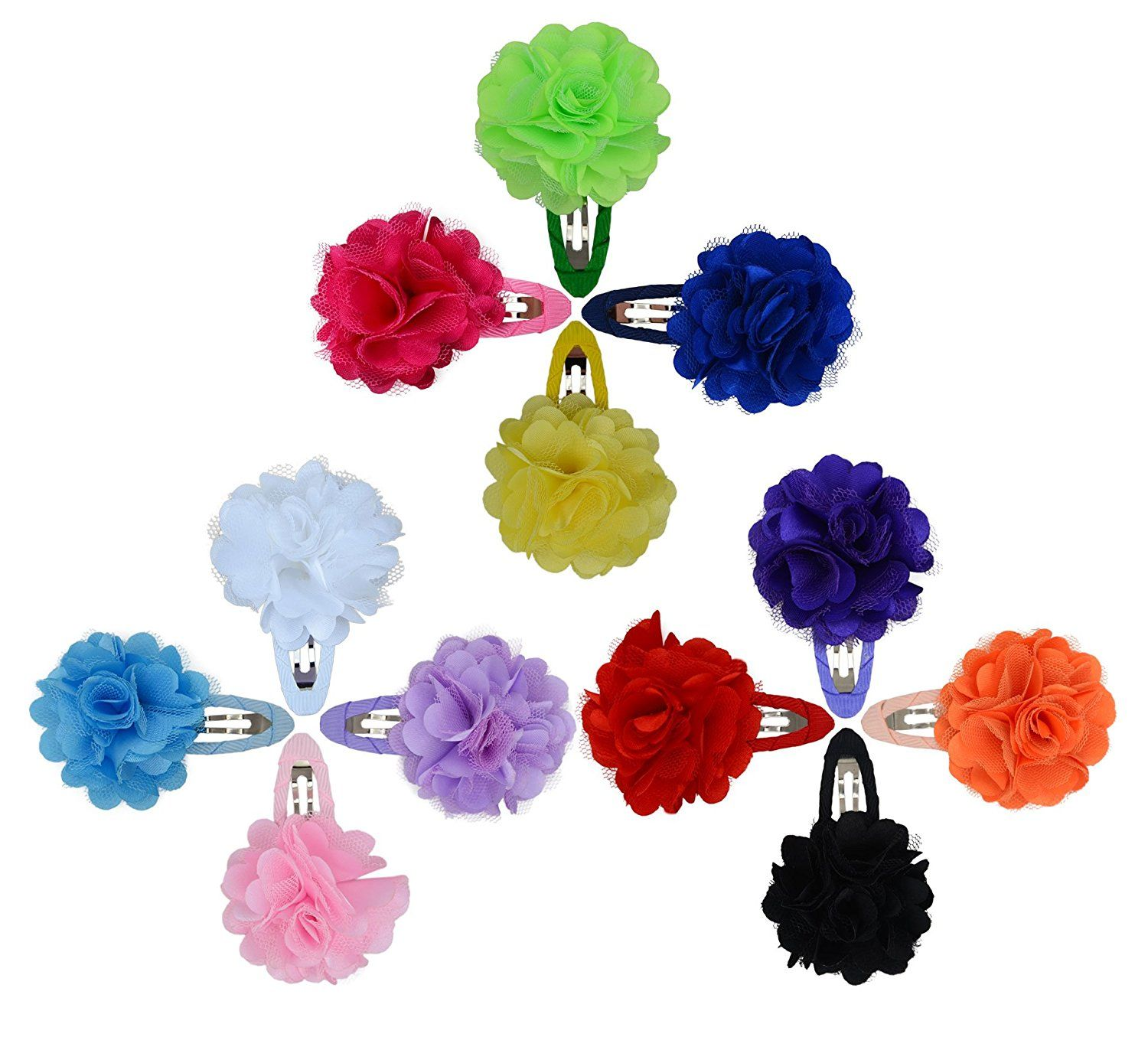 12 Pcs Fashion Baby Girls Satin Lace Flower Headbands Hairband Side Bangs Clips Hair Accessories ** To view further for this item, visit the image link.