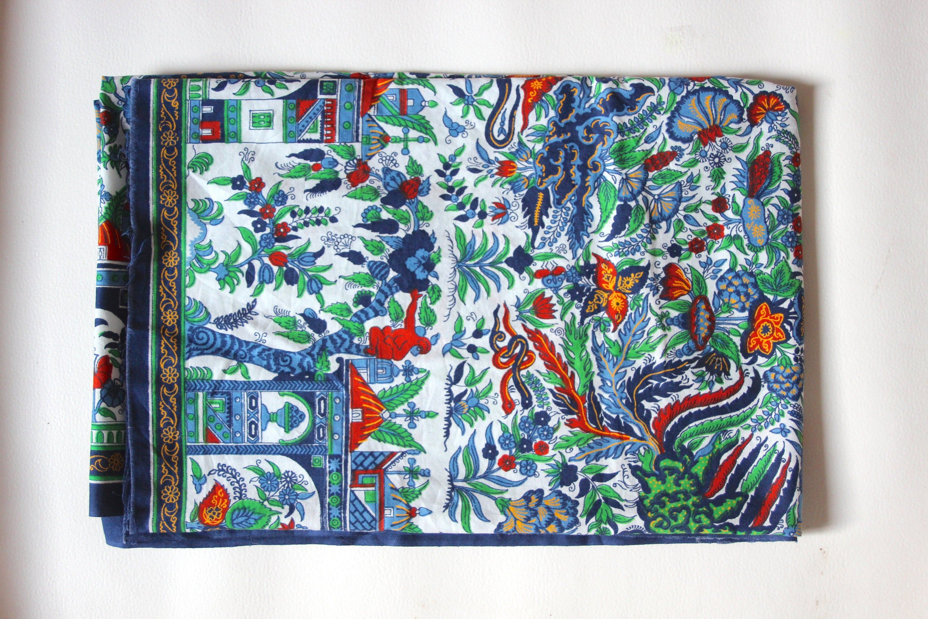 Fabric Vlisco blue printed dutch Netherlands confection
