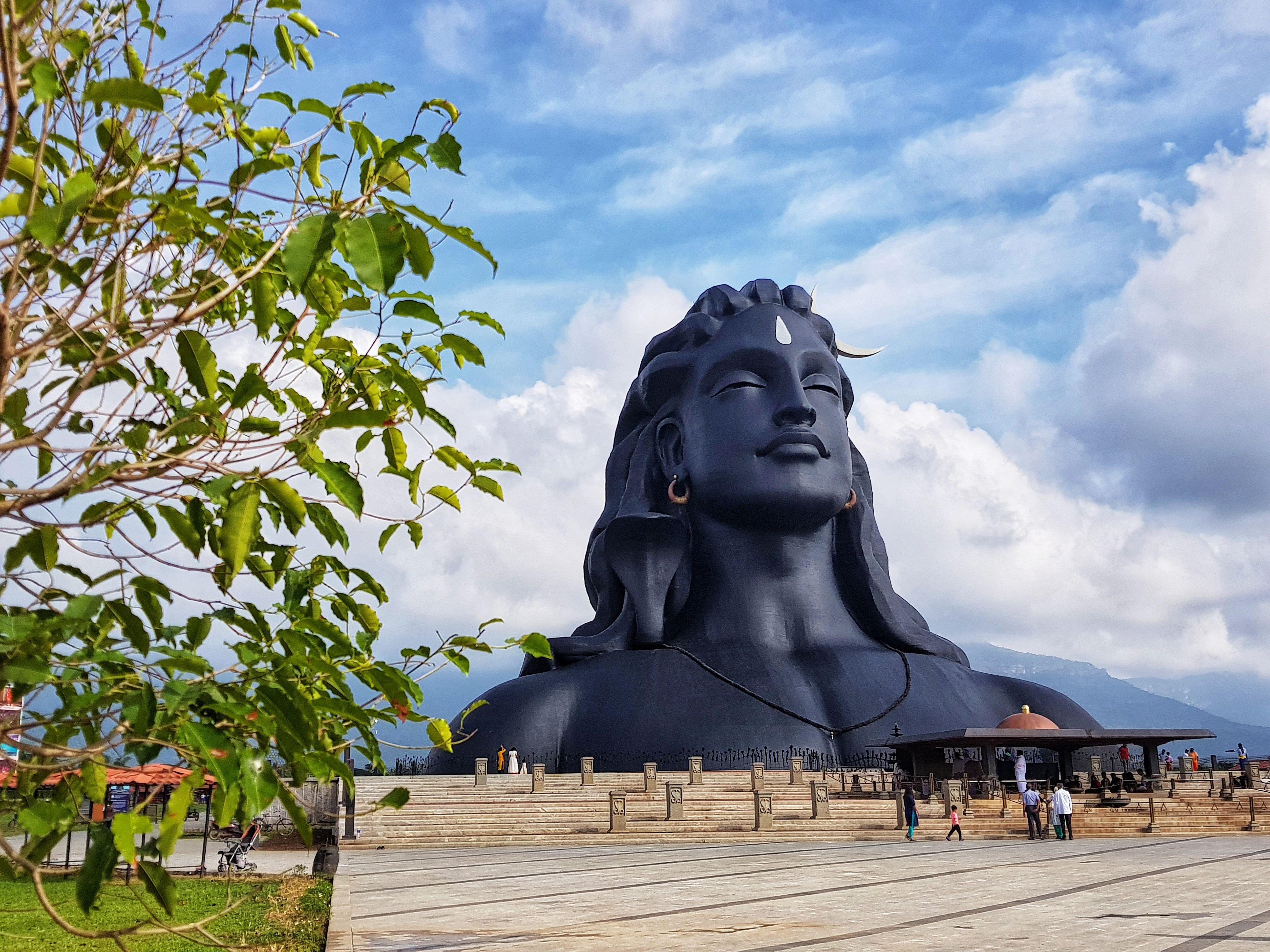 The 112ft Adiyogi bust at the Isha Yoga Foundation on the