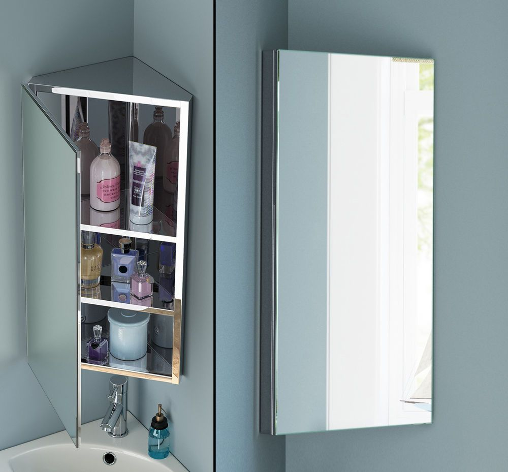 Stainless Steel Bathroom Corner Wall Mirror Cabinet Mc101