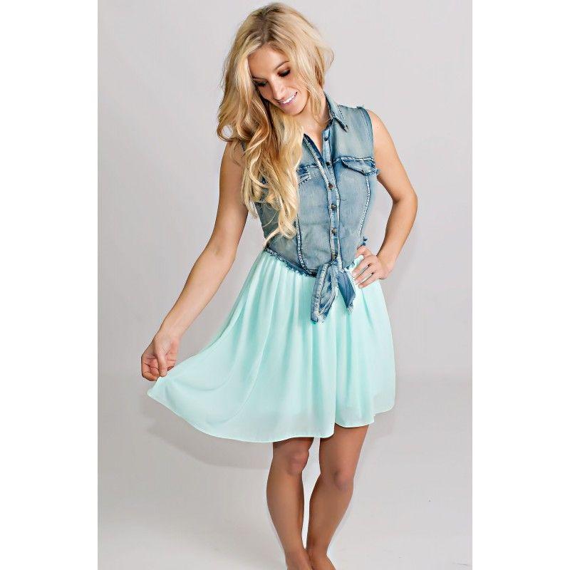 The Darling Denim Aqua Dress - Dresses