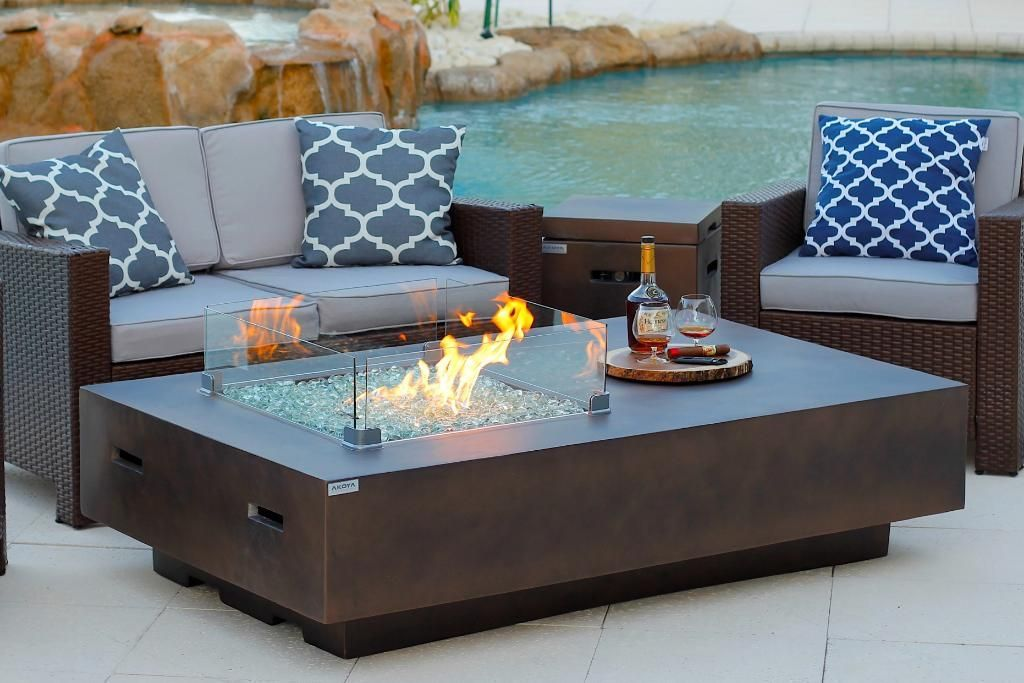 Photo of 65″ Rectangular Outdoor Propane Gas Fire Pit Table in Brown