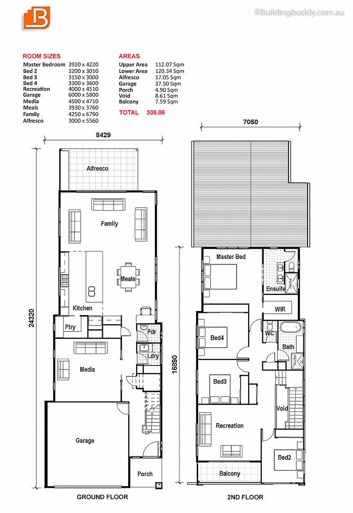 Small lot house plan the media room can be the living for Lot plan search