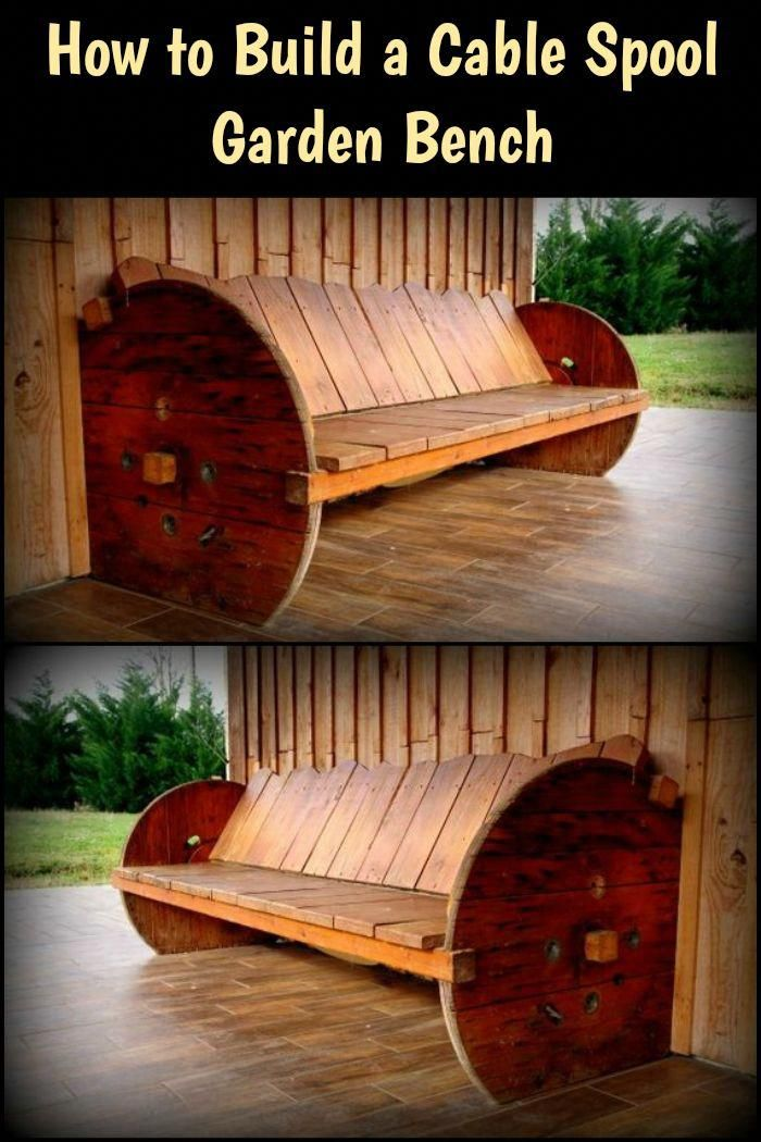 An old wooden cable spool and some pallets will give you this sturdy garden bench! Build it to believe! #diyfurnitureideas #cablespooltables