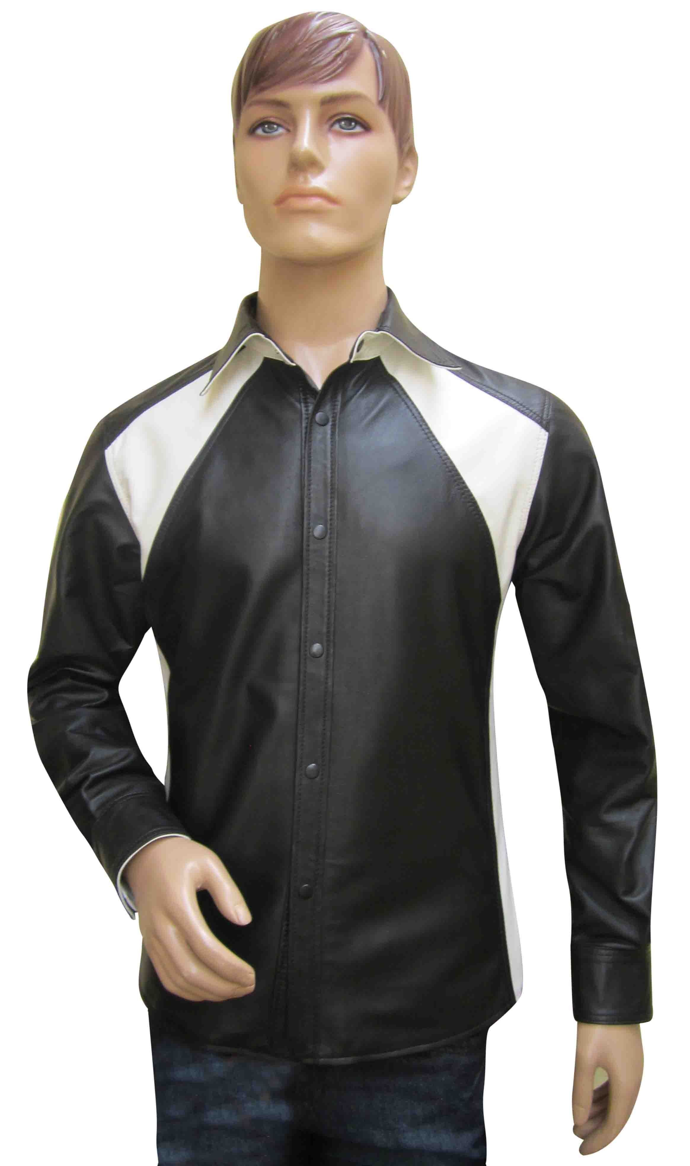 Leather Shirt With Two Colour Design - Sheep Nappa - Custom Made To Order Leather Shirt With Colour Design Real Sheeep Nappa.  We can also make the same garment to your own specific Leather color and colored piping size at extra cost., please choose Custom Made from selection list