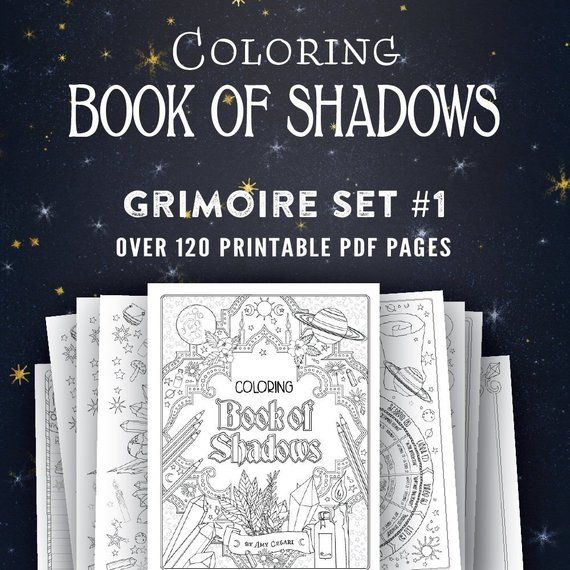 Coloring Book Of Shadows Vol 1 5 Printable Pdf Grimoire Etsy Book Of Shadows Grimoire Name Coloring Pages
