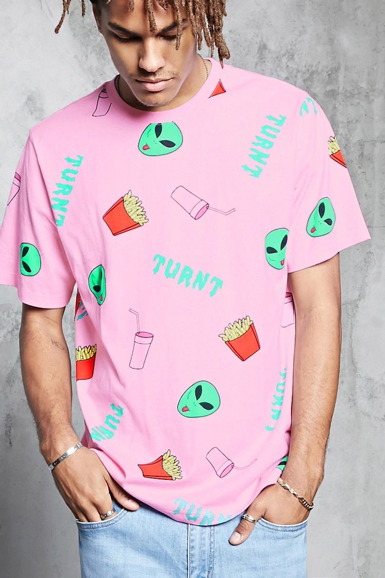 82189d364fd00 A knit tee featuring an allover alien, french fry, milkshake, and