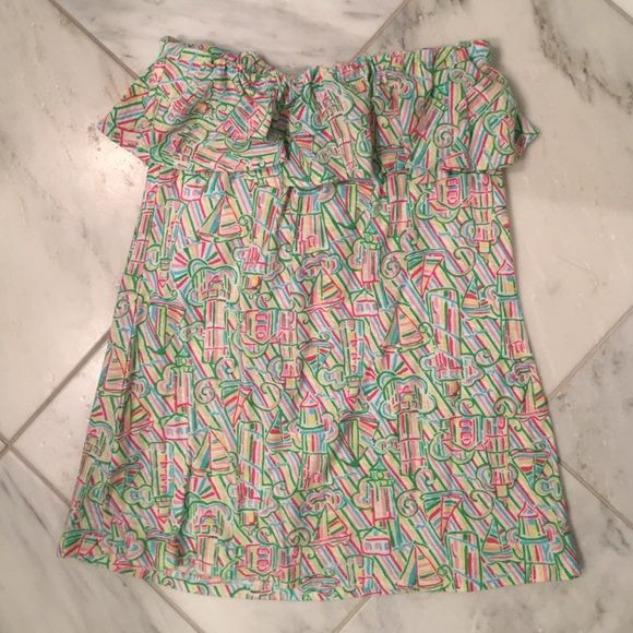 Lilly Pulitzer top Multi-color patterned top, 100% cotton Lilly Pulitzer Tops