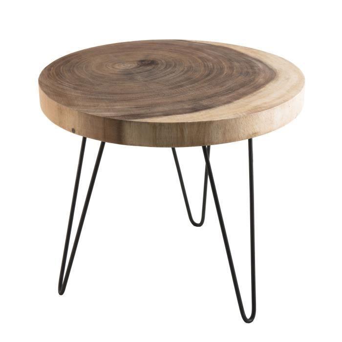 Table D Appoint Ronde Ethnique En Bois Mungur Massif Naturel Pieds Epingles Scandi En Metal O55 Cm Table D Appoint Ronde Table D Appoint Table De Chevet