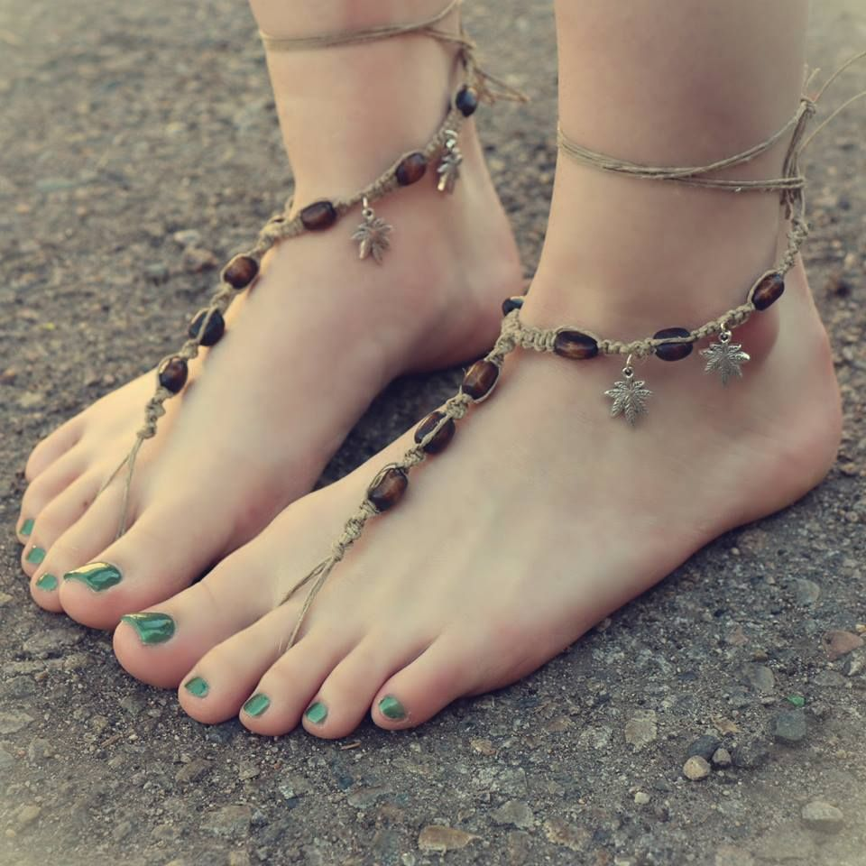 Cute Handmade Hemp Leaf Barefoot Sandals