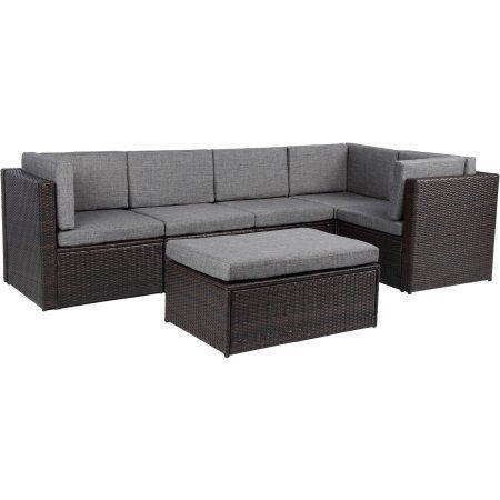Baner Garden Outdoor Furniture Complete Patio Cushion PE Wicker Rattan  Garden Corner Sofa Couch Set,