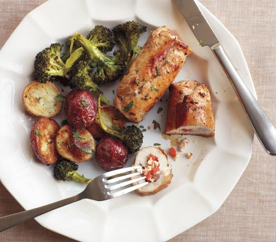 stuffed chicken- Tried it for dinner, it was delicious.  I would not roast the broccoli and potatoes together.  Broccoli takes less time.
