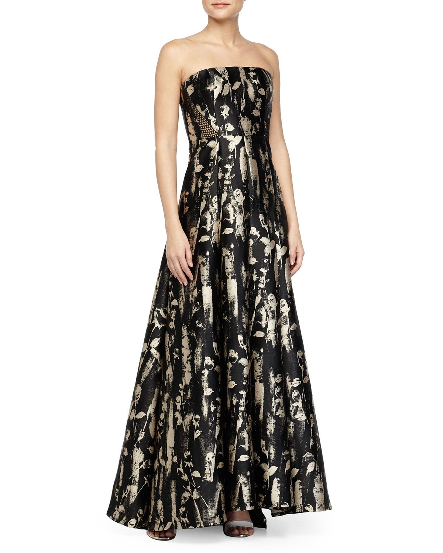 d0c6092983ca Carmen Marc Valvo Floral-Brocade Mesh-Inset Strapless Gown, Women's, Size:  10, Black/Beige