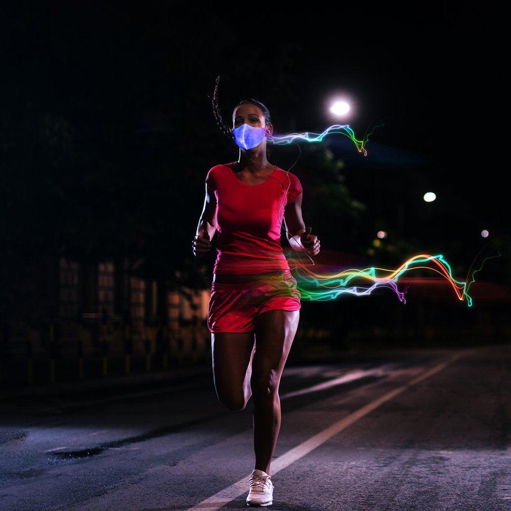SAFEBAO LED Dust Mask 7 Colors Luminous Light for Men Women Rave Mask Music