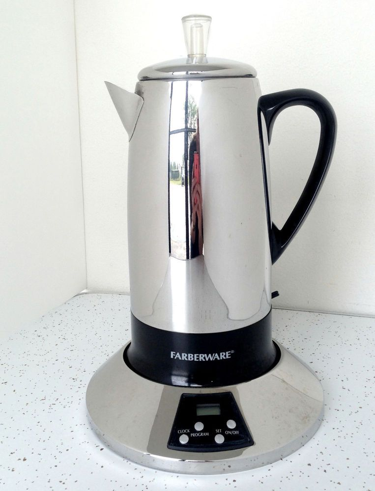 Farberware Electric 12 Cup Percolator Stainless Steel Coffee Maker Pot Fcp512 Percolator Coffee Stainless Steel Coffee Maker Percolator