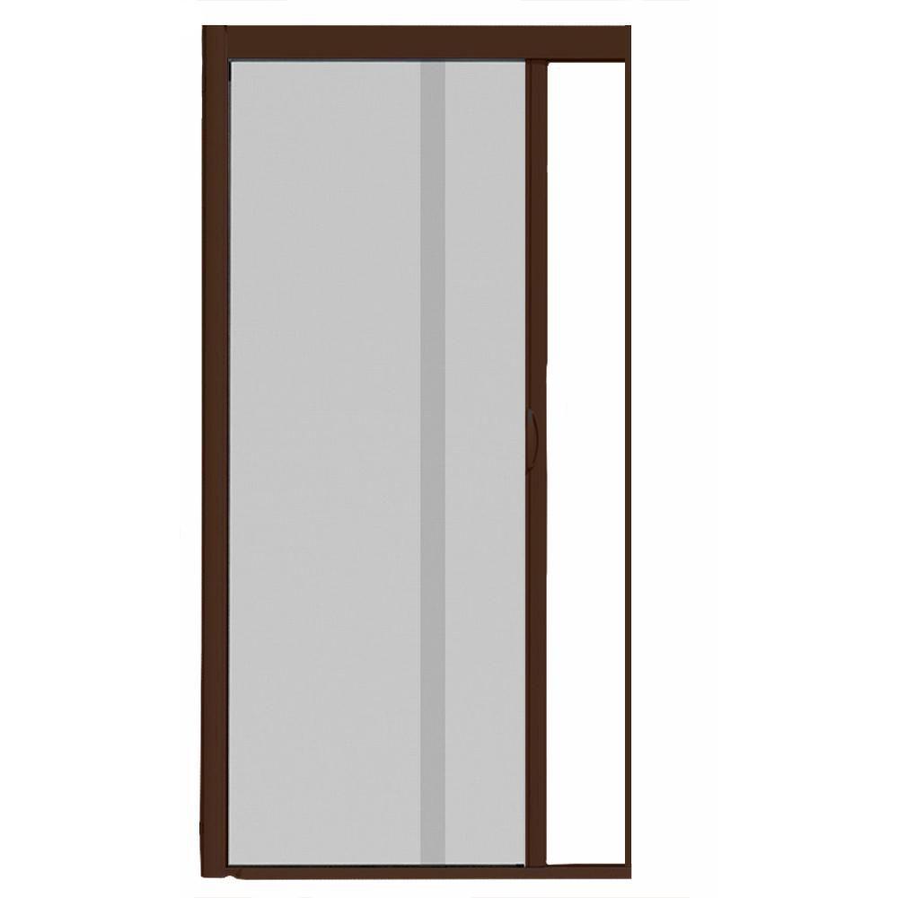 Visiscreen 44 In X 100 In Vs1 Brownstone Retractable Screen Door Single Cassette Retractable Screen Door Mesh Screen Entry Doors