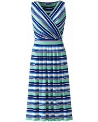 349386e11732b LandsEnd Lands  End Women s Plus Size Fit and Flare Dress - Tahiti  Turquoise Stripe from Lands  End