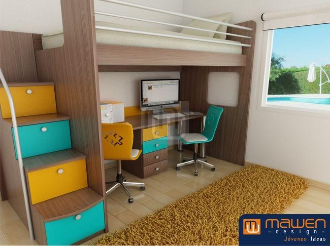 Muebles de dormitorio para espacios reducidos buscar con for Camas altas juveniles
