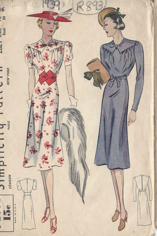 1939 Vintage Sewing Pattern B34 DRESS (R893) | Pinterest | Modelo ...