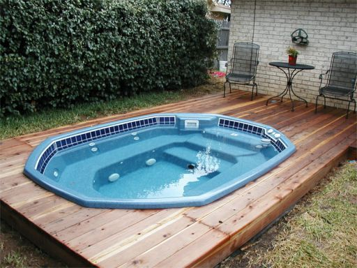 Built In Hot Tub In Ground Swimming Pool Spa Floating Platform Deck Installation Patio Lawn