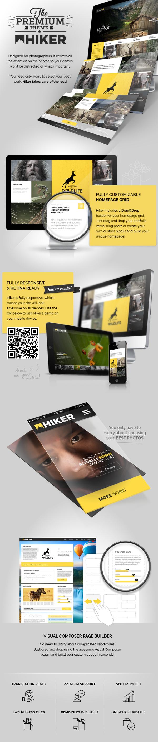 HIKER - Photography WP Theme by CreAtive Web Themes, via Behance