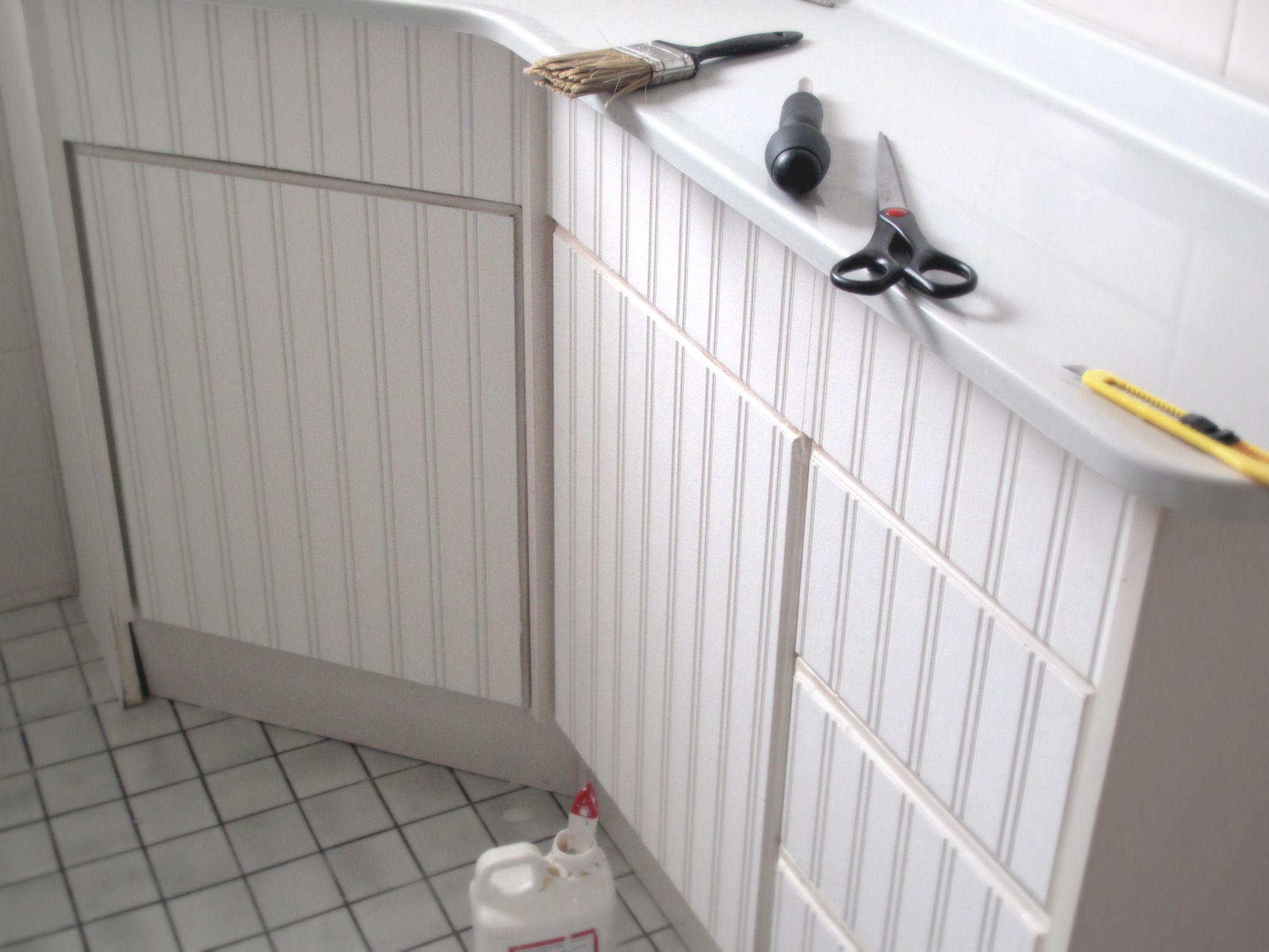 Beadboard Wallpaper = Bingo For Cabinet Doors - Kitchen Vision