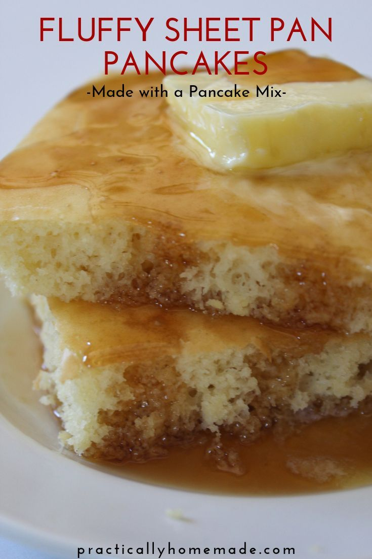 Photo of Quick and Fluffy Sheet Pan Pancakes from Mix | Practically Homemade