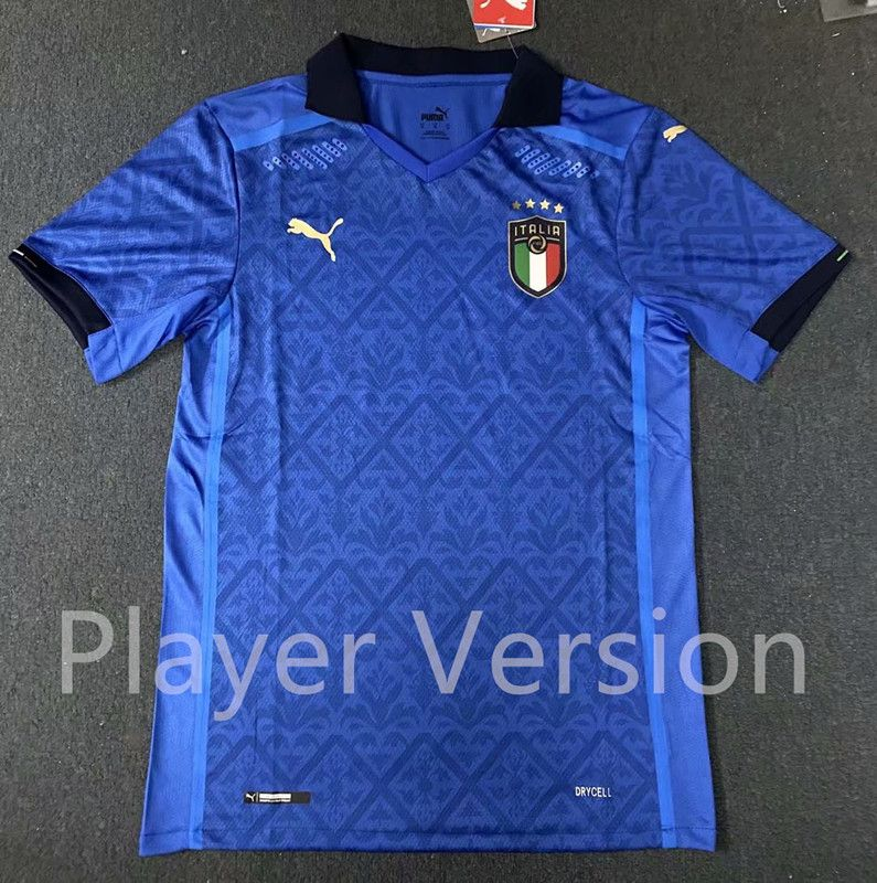 Player Version 2020 European Cup Italy Home Blue Thailand Soccer Jersey Aaa 818 In 2020 Soccer Jersey Italy House Soccer