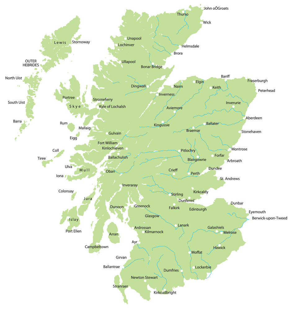 Scotland Map With Cities Click On A Town Or City To Find Out More