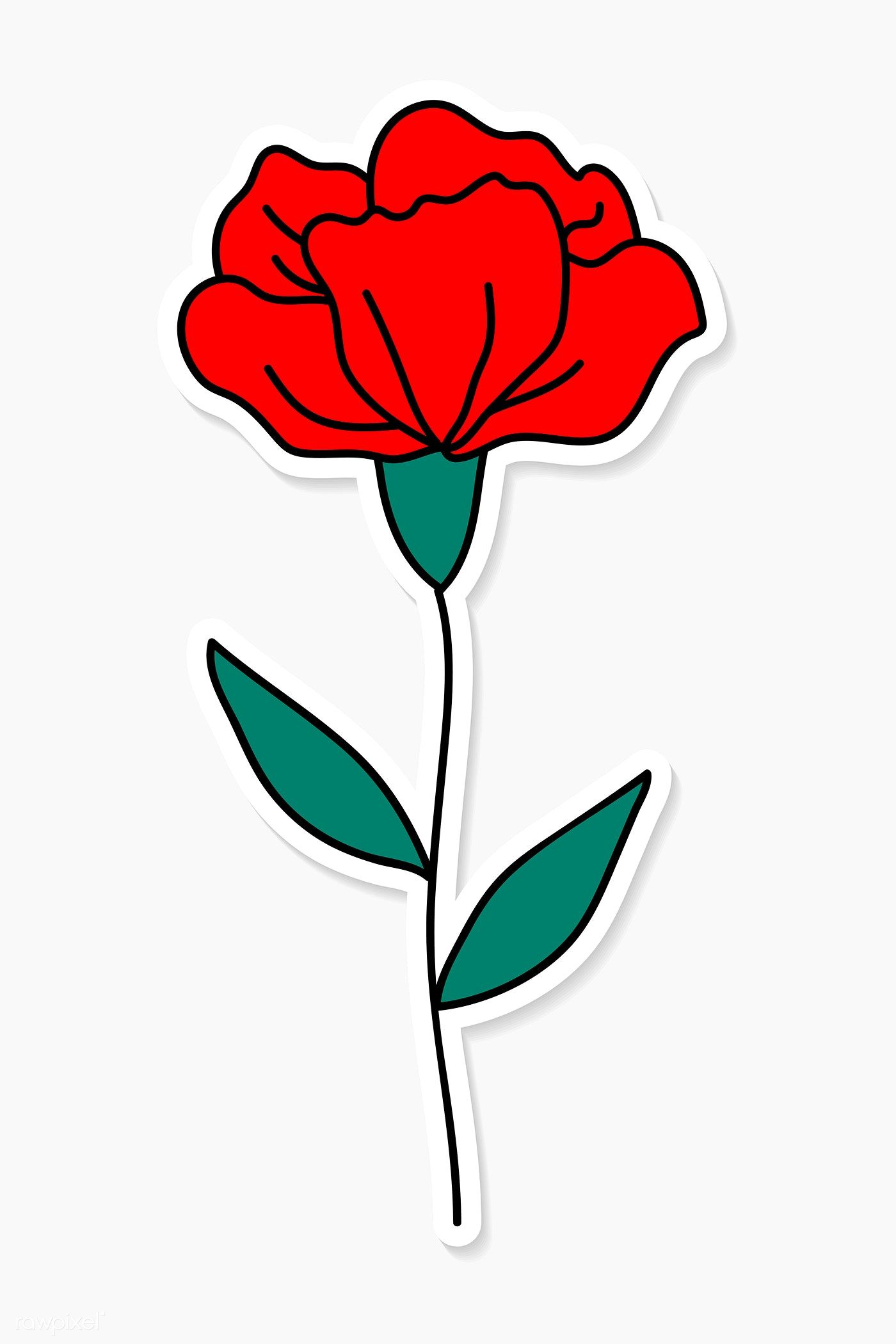 Download Premium Vector Of Red Carnation Flower Sticker Vector 2034520 Carnation Flower Carnation Drawing Flower Drawing