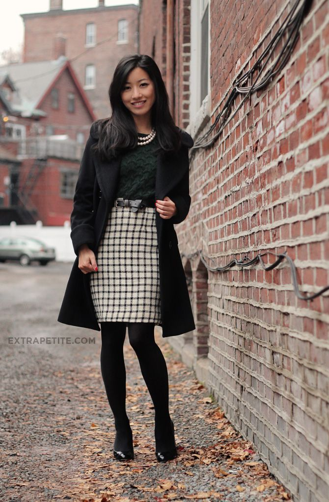 9c0ab26455 checkered a line skirt long black formal coat black and white plaid pencil  skirt black tights black heeled booties winter work and commuting wear pair  with ...